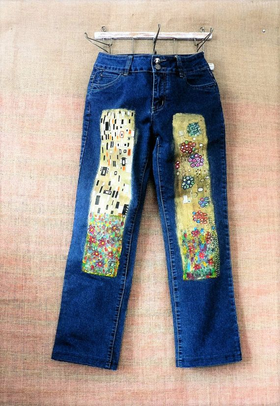 Hand-painted, recycling jeans with pictures inspired by Kiss of Gustav Klimt. Wide legs. Length - 94 cm/37 in Width waist - 88 cm/35 in Width hips - 104 cm/41 in Width bottom of leg - 40 cm/16 in Denim with stretch.