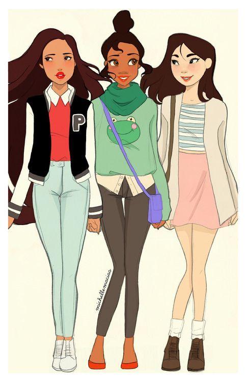 Pocahontas, Tiana & Mulan by Michelle Macias [©2013-2014]