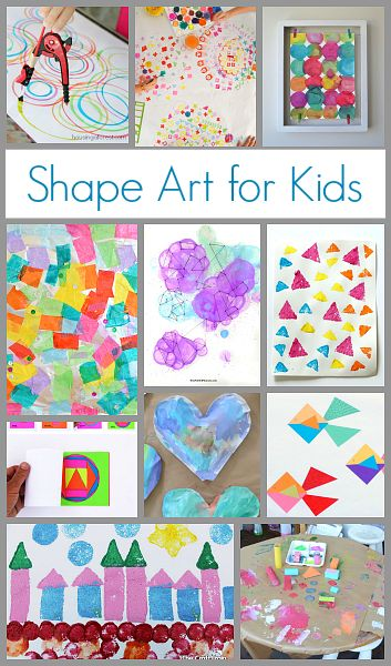 Here are all kinds of fun ways to integrate art into learning shapes. Children can do art projects based on the individual shapes they're currently learning or create art using a many shapes at once!