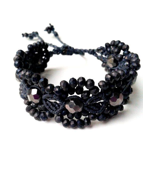 Flower Macrame Bracelet ~ Gray Waxed Cord with Gray Czech Crystals ~ Micromacrame ~ HandmadebyMammyKnows #etsy  #etsymntt