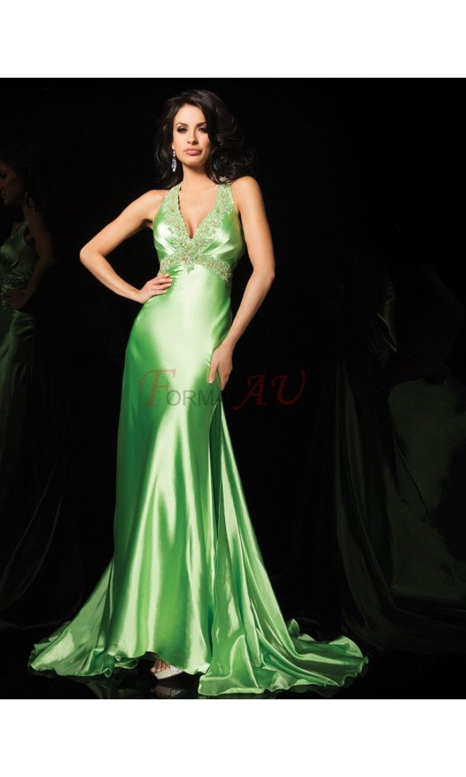A-line Straps Satin Formal Dresses/Long Evening Dresses with Beading FAU1404P801217 - Formalau.com