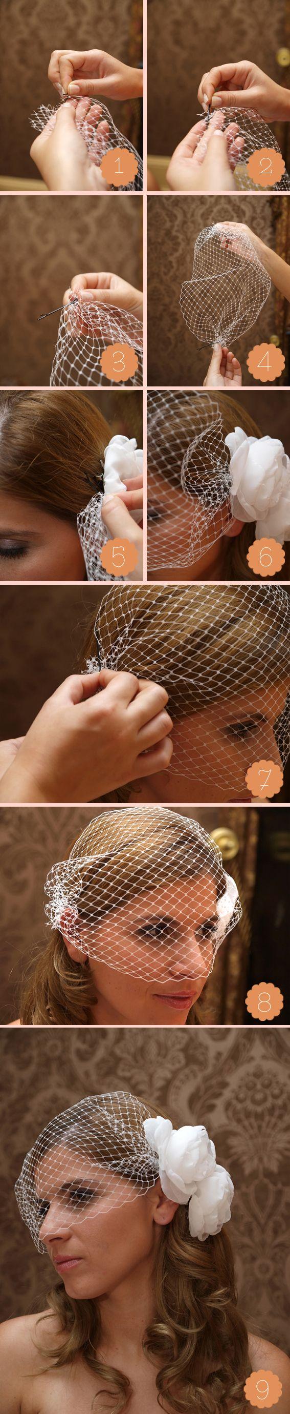 Birdcage Veil DIY.. I really like this..