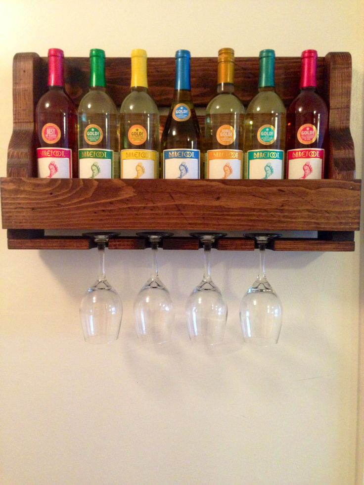 DIY hanging wine rack with a rainbow of barefoot wine!