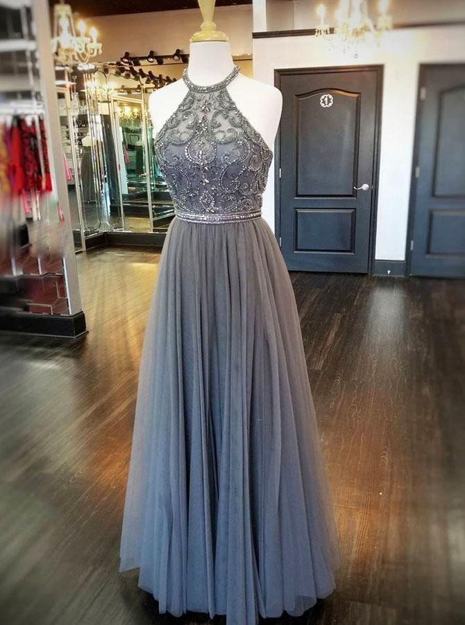 Full Figured Beaded Dress,Grey Prom Dress,Halter Prom Dress,PD00343 17