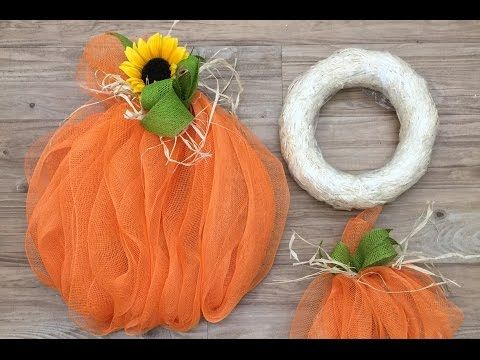 Crankin' Out Crafts ep499 Straw Wreath Deco Mesh Pumpkin - YouTube