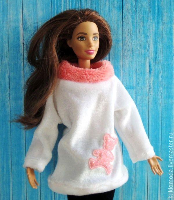 Купить Одежда для кукол Барби. Джемпер с мишкой. - комбинированный, белый, лососевый цвет, одежда для кукол