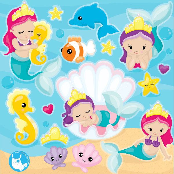 80% OFF SALE mermaid clipart commercial use, baby mermaid vector graphics, kawaii mermaid digital clip art, digital images - CL1090 by Prettygrafikdesign on Etsy