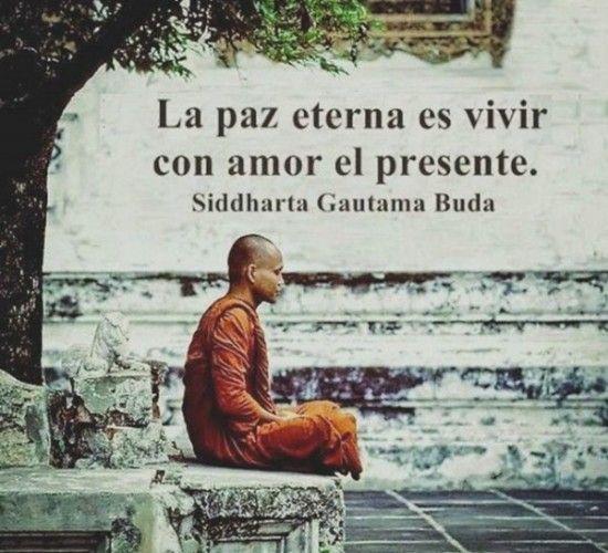 """""""La paz eterna es vivir con amor el presente"""" Descubre más frases sabias en este artículo   frases budistas español sobre la paz   Frases budistas cortas namasté   #Buddha frases #budismo"""