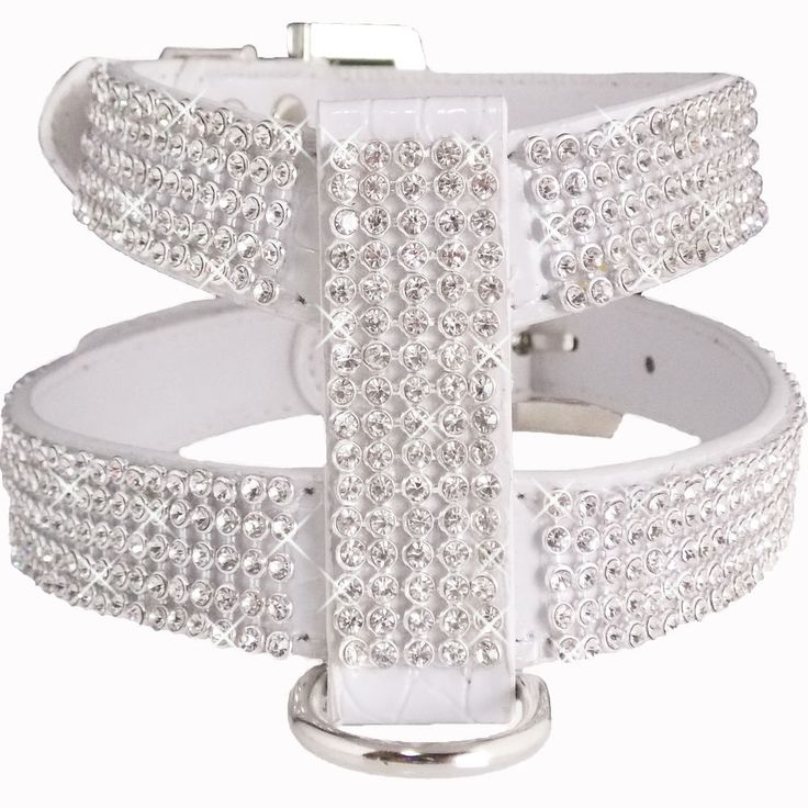 Medium White Crocodile PU Leather Bling Diamond Crystal Rhinestones Dog Harness #Unbranded