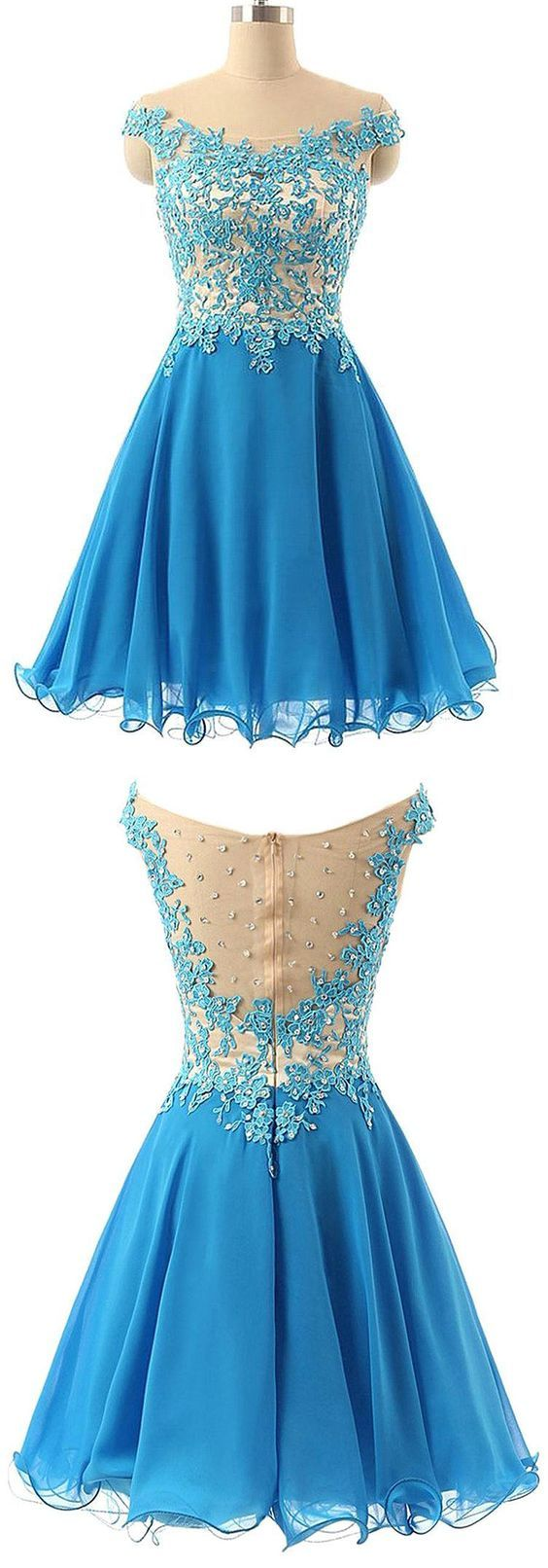 Appliques Homecoming Dress,Tulle Homecoming Dresses,Short Prom Dress F1113