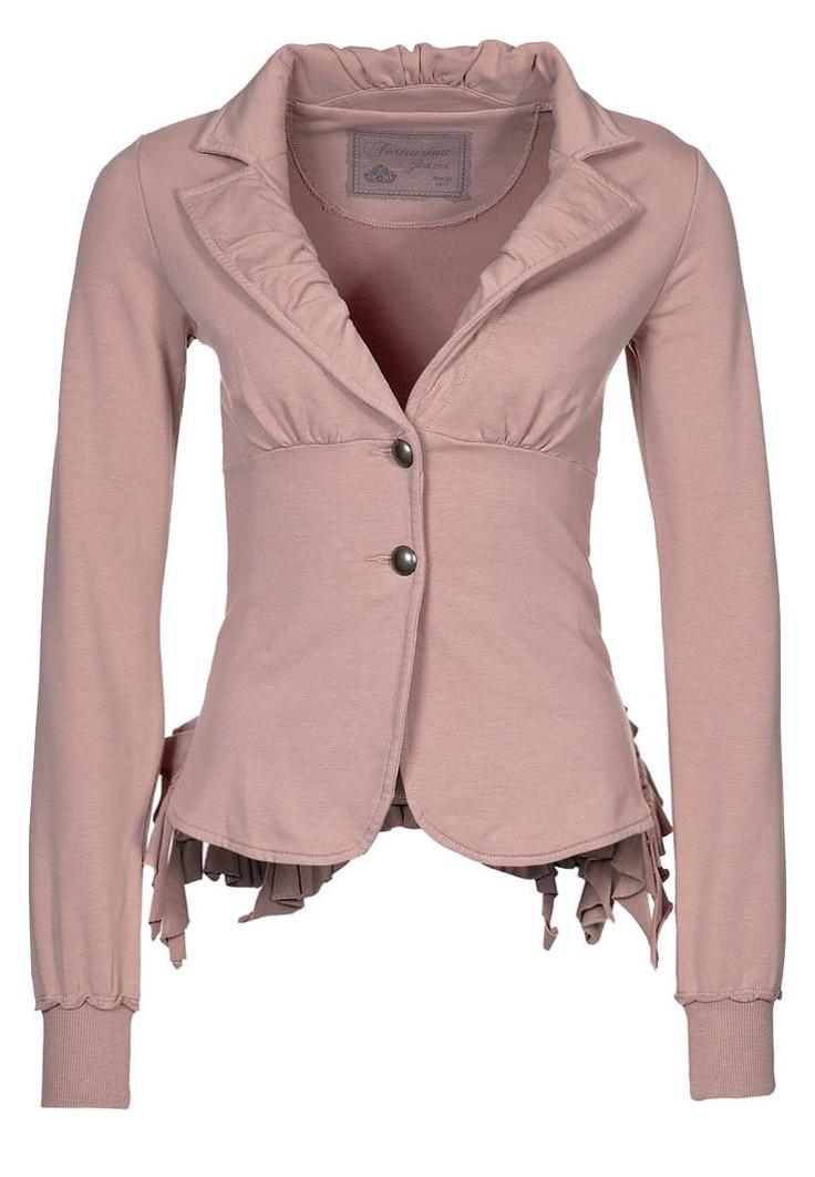 Fornarina has awesome clothes. I want this jacket. Amazing ruffled back and feels sooooooo comfy, you will never miss a sweatshirt.