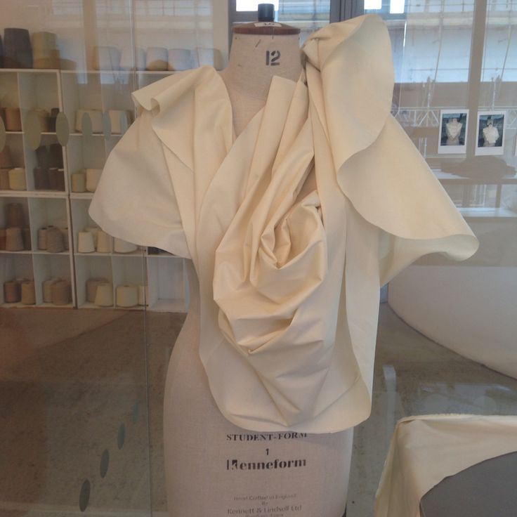Organic pleats and folds, draping on mannequin. Fashion Design Development; Experimental Pattern Cutting by Aymie Black