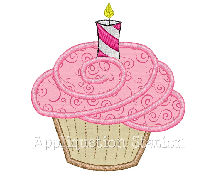 Birthday Cupcake Candle Applique Machine Embroidery Design
