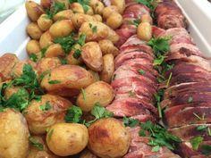 mørbrad med bacon og salvie og ovnkartofler