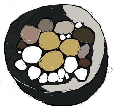 pebbles in a bowl, still life, Digital art, iPad Painting. Kathy Lewis