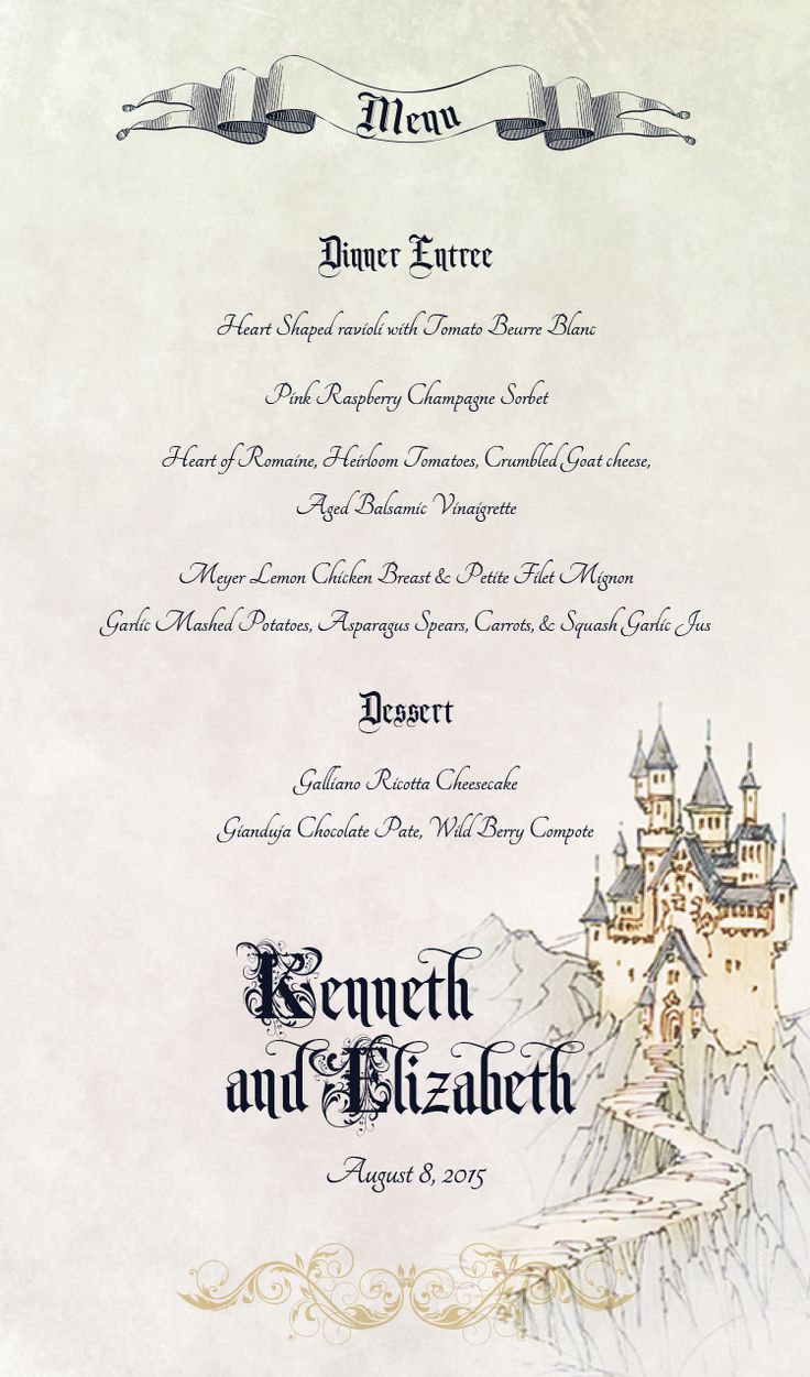 10 best fairy tale wedding invitations images on pinterest fairy tale wedding menu card monicamarmolfo Images