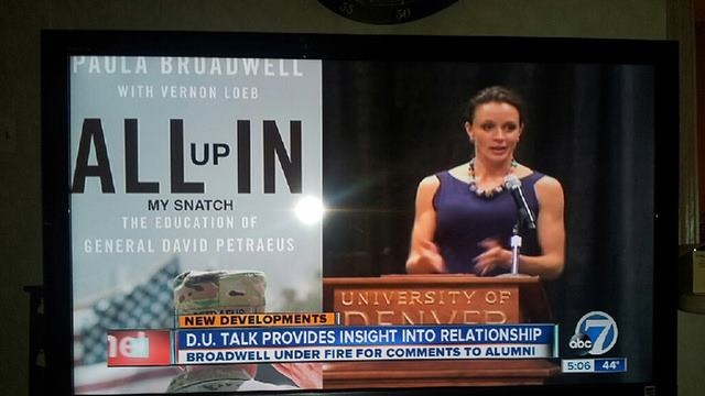 Nov. 2012. A Denver news station needed a photo of the cover of #PaulaBroadwell's book, to slide in here. They accidentally grabbed this Internet meme instead. The book title had been doctored to read #AllUpInMySnatch. It totally aired. Bwahaha!