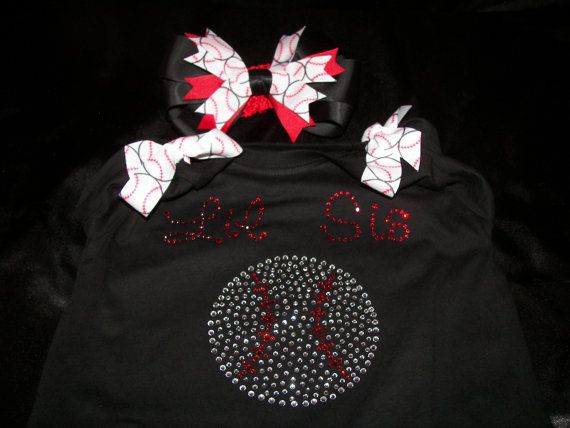 Lil Sis Baseball BLING Shirt and Hairbow SetDone by SpunkySparkles, $26.00