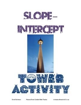 SLOPE-INTERCEPT TOWER ACTIVITY    This activity is designed for students to complete BEFORE learning about slope-intercept form. The hands-on, cooperative learning activity introduces students to the notion of slope-intercept form and shows them how it can be used in a real-life situation. You will be impressed with how well the students will work toward finding a solution to the challenging problems in the Tower Activity.