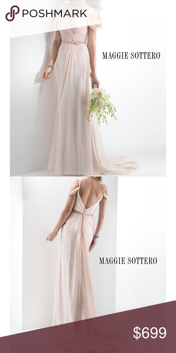 "Blush bridal gown Grecian chiffon -Maggie Sottero New, 100% Authentic Maggie Sottero Bridal Gown June /4MT936 Authenticity Certificate is included. Size: US 8 - 36/28/38.5  Hollow to hem 58"" Style: Grecian sheath gown of Arlo chiffon, accented with sweetheart neckline and draped cold shoulder sleeves. Twinkling Swarovski crystals adorn the waistband and trail a zipper and inner elastic back closure. Crystal Buttons that line the back. Retail Price (Maggie Sottero Sawyer): $900.00 maggie…"
