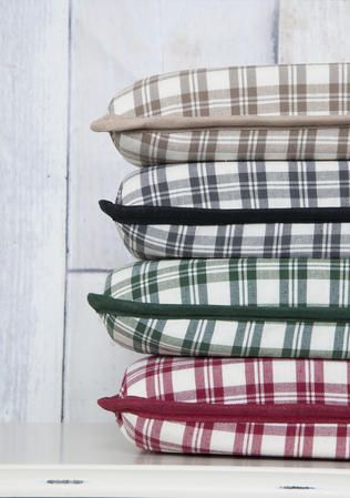 This array of delightfully classic look tartan check seat pads is a lovely way to add a comforting and colourful touch to your chairs. They can be used throughout your home and conservatories and are a cheerful way to freshen up your furniture outdoors and make sure your seating is perfectly relaxing. From £13.99 via www.lancashiretextiles.co.uk #seat #pad #cushion #home #comfort #tartan #LancashireTextiles