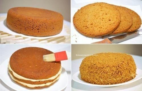 Просто, быстро, вкусно! Для медового бисквита (форма 20 см. В диаметре: 3 крупных яйца (комнатной t). 100 г сахара. 100 г меда. 1 ч ложка соды. 150 г муки. Для сиропа: 1 ч ложку меда растворить в 100 ...