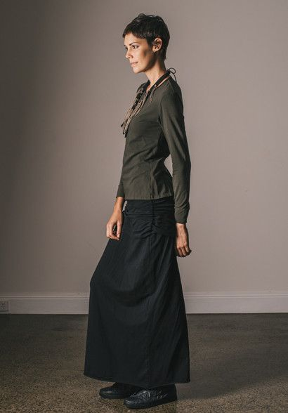 The Juniper skirt is very long and has a bunched overskirt to conceal your hips. It is worn here very simply with a Tori top and Vine necklace all in organic cotton,  100% made in Australia by Bestowed. Ethical production from a sustainable label.