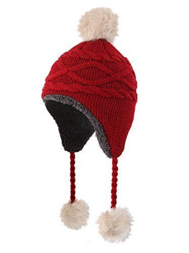 feba63e2344 Home Prefer Girls Sherpa Earflaps Hat Kids Winter Beanie Fuzzy Peruvian Hats   HomePrefer