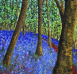 Bluebells 3, Acrylic on canvas, 24 x 24 inches