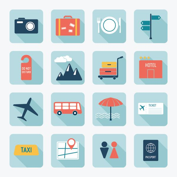 Flat Travel Icons by Oksana Lubianova, via Behance