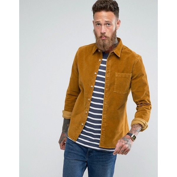 ASOS Slim Fit Cord Shirt In Mustard ($38) ❤ liked on Polyvore featuring men's fashion, men's clothing, men's shirts, men's casual shirts, tan, mens mustard shirt, mens cord shirt, mens slim fit casual shirts, mens slim fit shirts and asos mens shirts