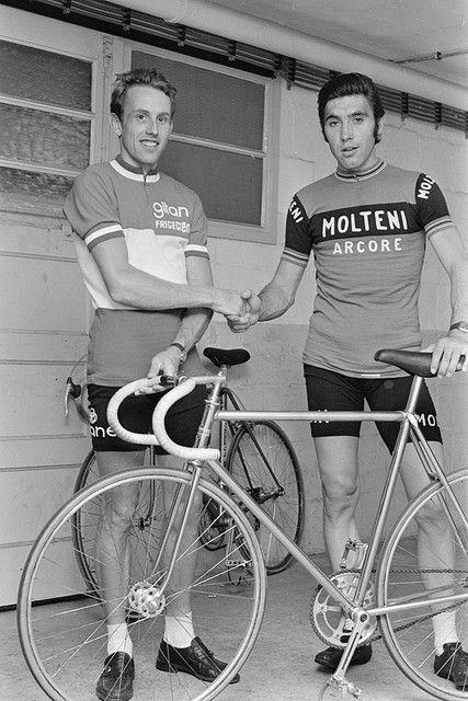 Joop Zoetemelk and Eddy Merckx shaking hands. Merckx is such a good looking dude it's ridiculous.