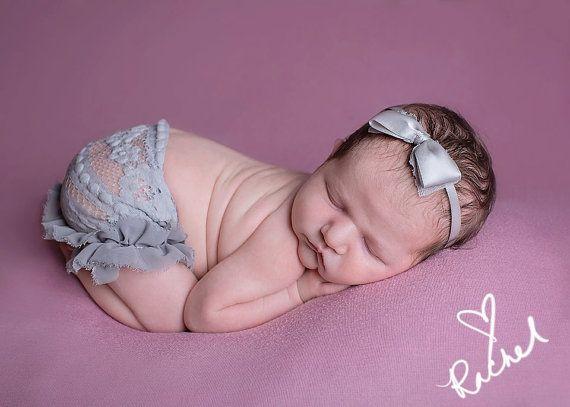Newborn ELLIE  grey lace ruffle skirt bow by JazzCraftBoutique