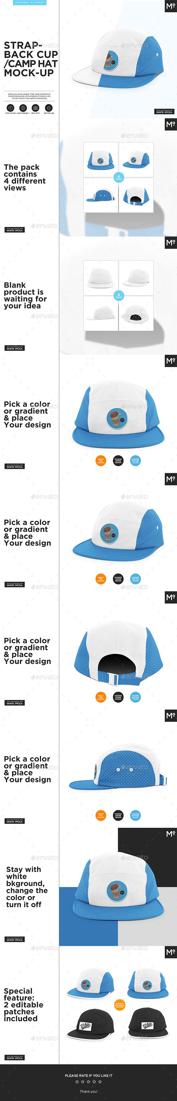 Strapback  Cap / Camp Hat  Mock-up - Miscellaneous Product Mock-Ups