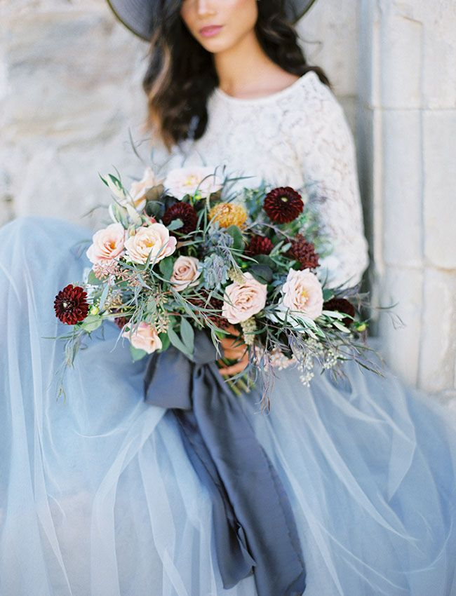 blue grey wedding inspiration, Pantone Serenity inspiration, bridal lookbook, bridesmaid outfit inspiration, tulle skirt, maxi skirt, lace top, Space 46 tulle, Green Wedding Shoes feature