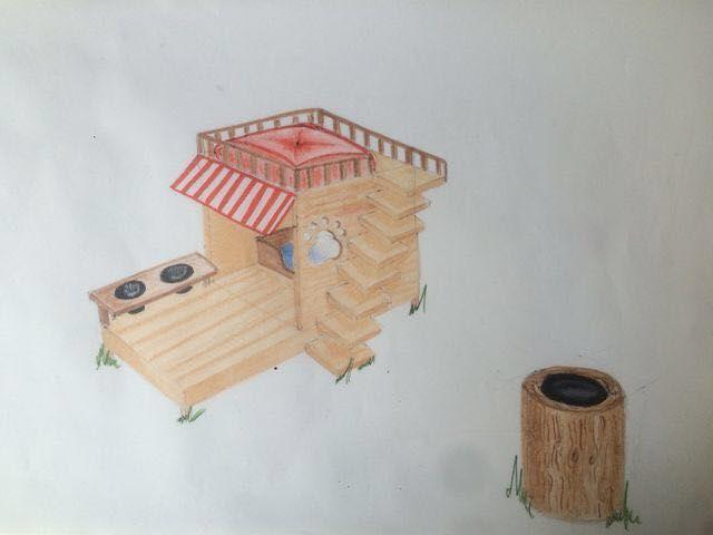 Casita para perro. (Rotuladores) (técnica de madera).