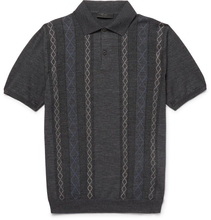 A luxurious take on a classic piece of sportswear, <a href='http://www.mrporter.com/mens/Designers/Prada'>Prada</a>'s polo shirt has been spun in Italy from ultra-soft wool. It's designed with tactile open-knit stripes and intricate diamond stitching that subtly slims your torso. Complement the fit with equally slim trousers.