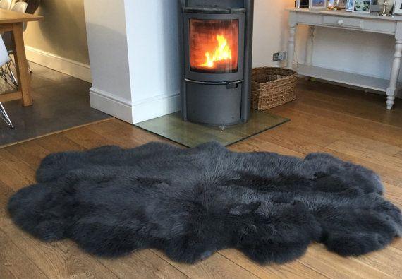British Sheepskin !  Quad X4 skins Our Stunning Slate Grey Gray Luxury sheepskin Rug supersoft Pelt Hide Genine Natural Eco product by Swedishdalahorse #TrendingEtsy