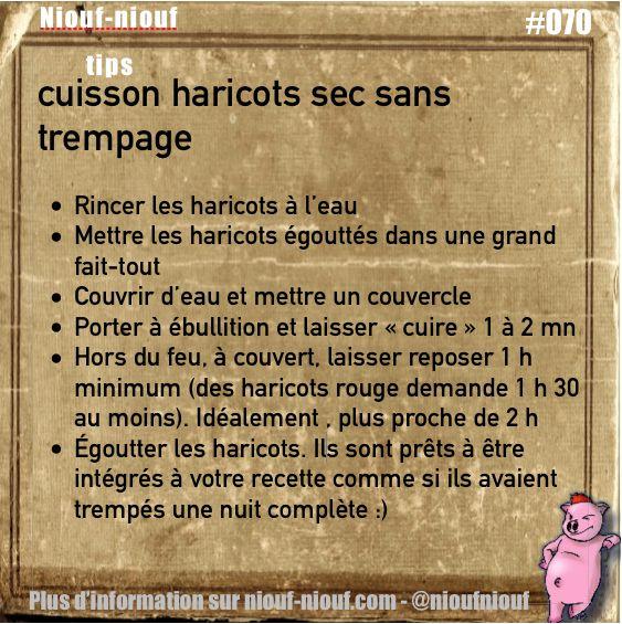 Tips Niouf-niouf : cuisson des haricots sec sans trempage #cuisine #haricotsec #trucs #astuces