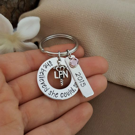 She Believed She Could, So She Did Key Chain would make a great Gift For LPN Nurse, or as a LPN Nursing Graduate Gift. Includes washer stamped