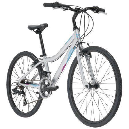 Redline Bikes Willow 24 Girl's Performance Hybrid Bike, 24 inch Wheels, Silver