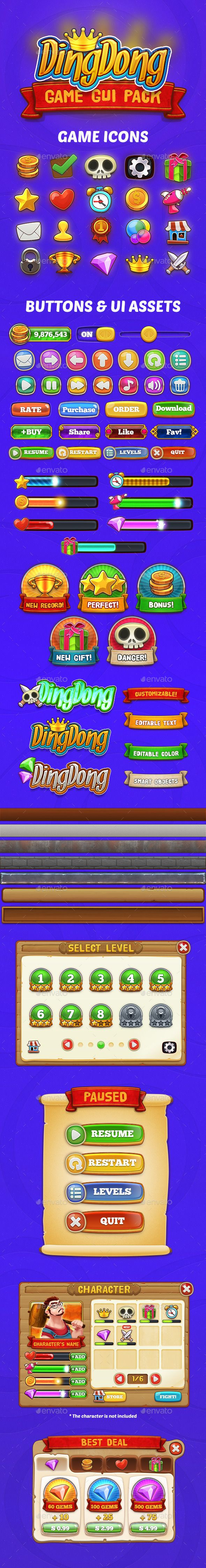DingDong: Game GUI Pack - User Interfaces Game Assets