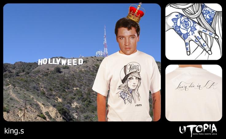http://www.facebook.com/UtopiaLux Unusual tshirt design. #elvis #presley #Los #angeles #hollywood #hill #king #lookbook #sick #funny #utopia #marihuana #joint #tattoo