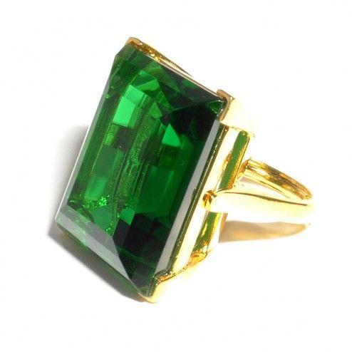 Kenneth Jay Lane Emerald Crystal Ring