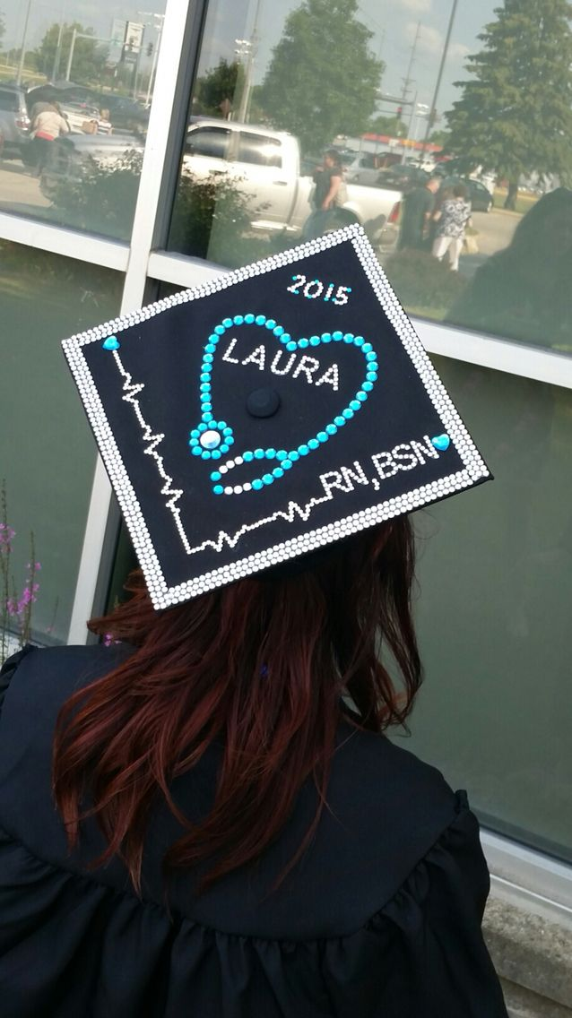 Decorated nursing school graduation cap