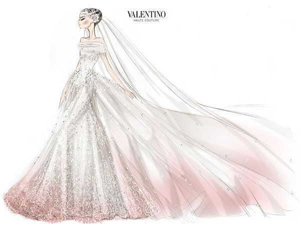 Anne Hathaway Wedding Dress...! How GORGEOUS is this sketch! Can't wait to see pictures. (Also, thank you, Valentino, for finally bringing back straps. Seriously.)