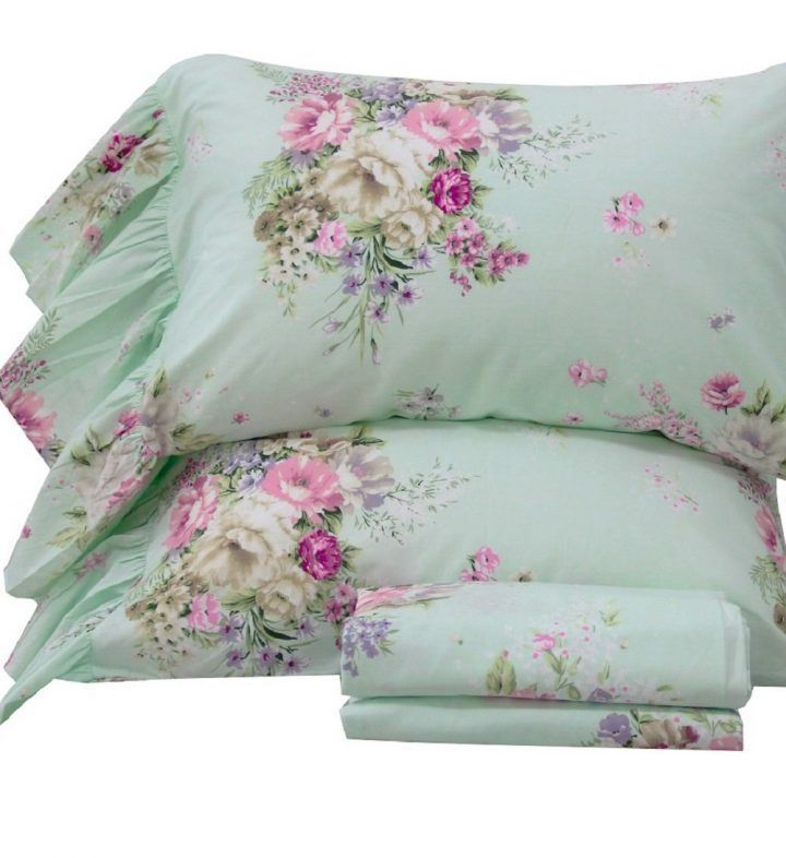 Queen's House 4-Piece Shabby Green Bed Sheet Sets Cotton Queen Size-Style K #DesignerBedSheets
