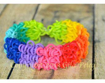 Las bandas-MULTICOLOR arco iris telar pulsera-gomas