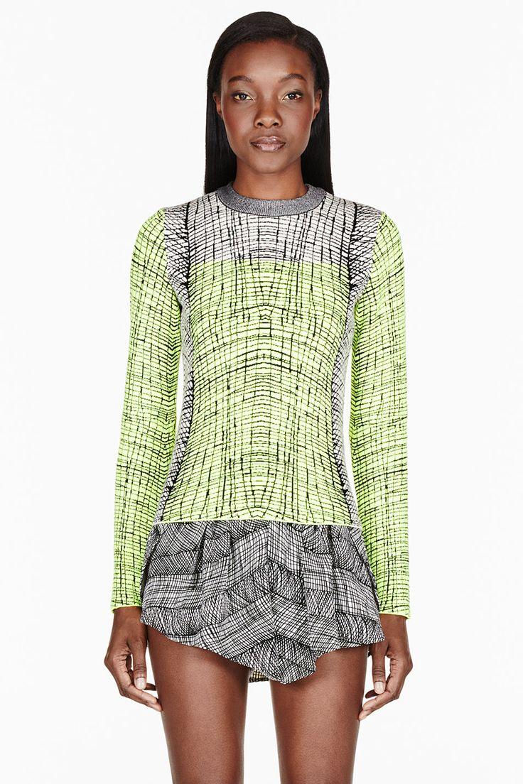 KENZO White & Chartreuse jacquard sweater
