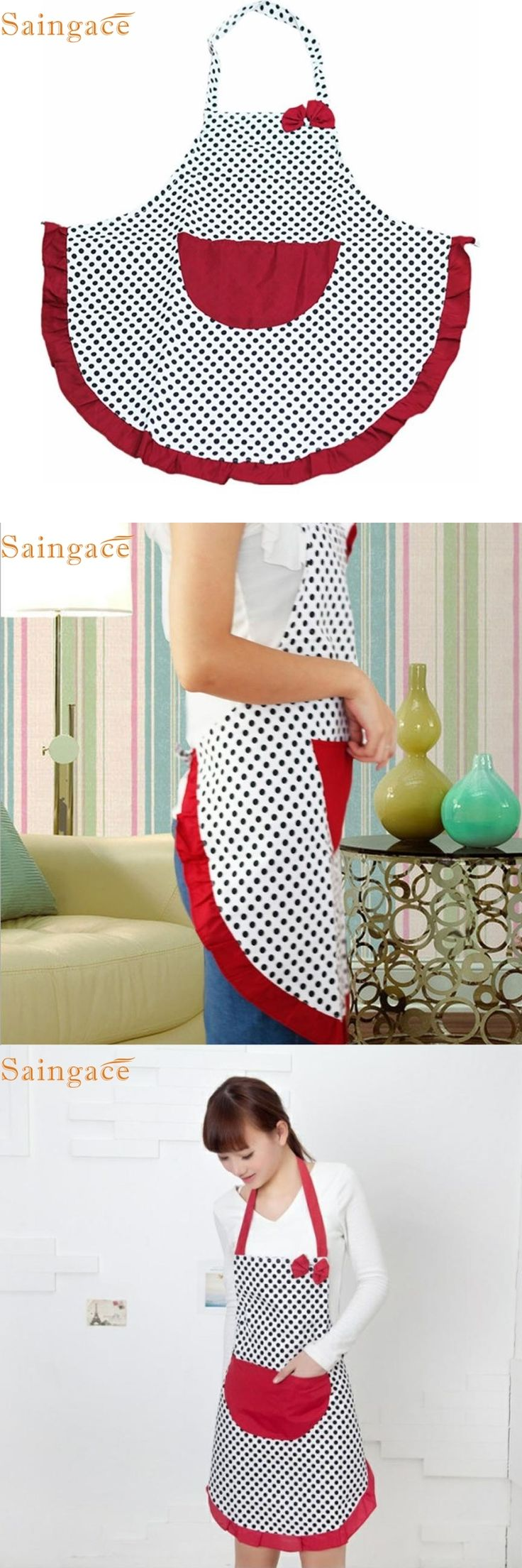 Mosunx Business  women Bib Cooking Aprons  Kitchen Restaurant Aprons Polka Dot Aprons